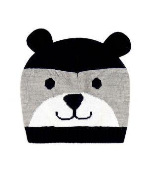 Серая двойная шапка для мальчика Веселый мишка