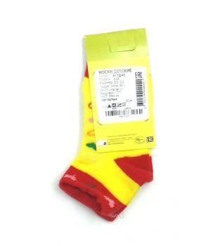 Красно-желтые носки с сердечками