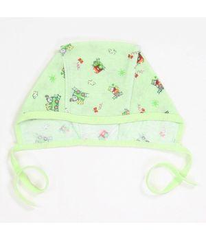 Чепчик хлопковый зеленый на завязках